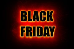 Black Friday sign, large black letters with bright red glowing outline Stock Photo