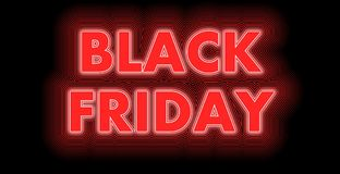 Black Friday sign in red. Black Friday after Thanksgiving​ sign in red and white strips Stock Images