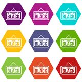 Black Friday signboard icon set color hexahedron Royalty Free Stock Photos
