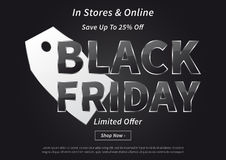 Black Friday with silver price tag vector illustration Stock Images