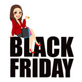Black Friday Sitting Woman Text Royalty Free Stock Images