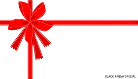 Black Friday Special Card with Red Ribbon Royalty Free Stock Photography