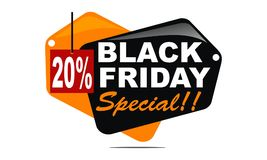 Black Friday Special Discount 20 Percent. Logo Design Template Vector Stock Photo