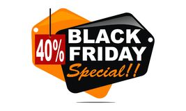 Black Friday Special Discount 40 Percent. Logo Design Template Vector Royalty Free Stock Images