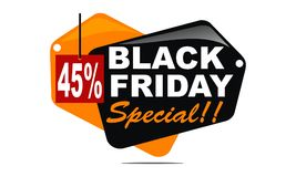 Black Friday Special Discount 45 Percent. Logo Design Template Vector Stock Photo