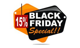 Black Friday Special Discount 15 Percent. Logo Design Template Vector stock illustration