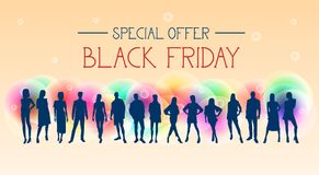 Black Friday Special Offer Banner With Group Of People Silhouettes On Colorful Background Stock Image