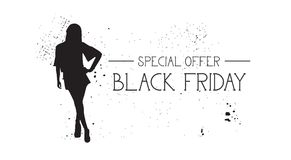 Black Friday Special Offer Banner With Grunge Rubber Fashion Model Female Silhouette On White Background Stock Photography