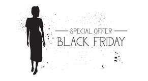 Black Friday Special Offer Banner With Grunge Rubber Fashion Model Female Silhouette On White Background Royalty Free Stock Photo
