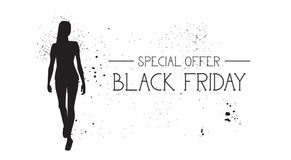 Black Friday Special Offer Banner With Grunge Rubber Fashion Model Female Silhouette On White Background Royalty Free Stock Images