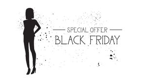 Black Friday Special Offer Banner With Grunge Rubber Fashion Model Female Silhouette On White Background Royalty Free Stock Photography