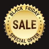 Black friday special offer on gold badge on black background Royalty Free Stock Image