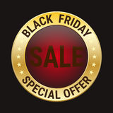 Black friday special offer on gold badge on black background Royalty Free Stock Photos