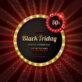 Black friday special offer on gold badge. On dark red background, Vector Illustration Royalty Free Stock Photo