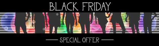 Black Friday Special Offer Horizontal Banner With Group Of People Silhouettes On Colorful Background Stock Image