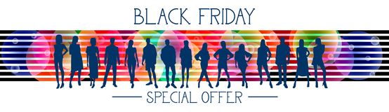 Black Friday Special Offer Horizontal Banner With Group Of People Silhouettes On Colorful Background Royalty Free Stock Images