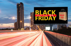 Black Friday special offer sale. Billboard Black Friday special offer sale. Black Friday banner. Outdoor advertising poster at night time with street light line stock photos
