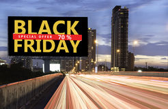 Black Friday special offer sale. Billboard Black Friday special offer sale. Black Friday banner. Outdoor advertising poster at night time with street light line royalty free stock photography