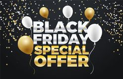 Black Friday special sale 50% discount  banner design. Colorful Black Friday Sale  Poster design. Golden and White Balloons Stock Image