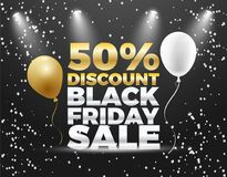 Black Friday special sale 50% discount  banner design. Colorful Black Friday Sale  Poster design. Golden and White Balloons Stock Photo