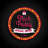 Black Friday-Speciale aanbieding retro licht kader Royalty-vrije Stock Foto