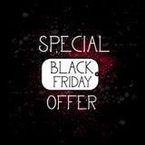 Black Friday specialt erbjudande för att shoppa Lago, stor befordran och rabattsymbolen stock illustrationer
