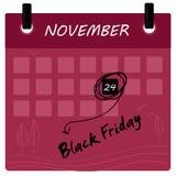 Black Friday sprzedaży 2017 kalendarz ilustracji