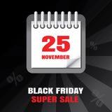Black Friday sprzedaży kalendarza tło Obrazy Royalty Free