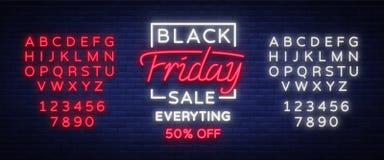 Black Friday sprzedaży neonowy znak, neonowy sztandar, tło broszurka Rozjarzony neonowy znak, jaskrawa rozjarzona reklama, sprzed Zdjęcie Stock