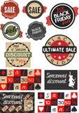 Black Friday sprzedaży projekta wpisowy szablon na zakupy Etykietka, cena, etykietka, majcher, odznaka również zwrócić corel ilus ilustracja wektor