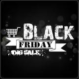 Black Friday sprzedaży sztandar z białym faborkiem na bokeh tle Obraz Stock