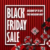 Black Friday sprzedaży sztandar z różnymi prezentów pudełkami na czerwieni paskował tło royalty ilustracja