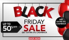 Black Friday sprzedaży sztandaru szablonu tło z ballons i conffeti czerwonymi i czarnymi Specjalna oferta końcówka sezon, szablon ilustracji