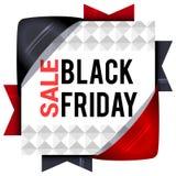 Black Friday sprzedaże, kwadratowi sztandary z barwionymi faborkami Prezenty f Obraz Stock