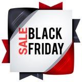Black Friday sprzedaże, kwadratowi sztandary z barwionymi faborkami Prezenty f Obraz Royalty Free