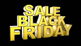 Black Friday sprzedaży 3D ilustracja Fotografia Royalty Free