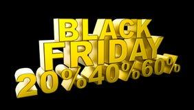 Black Friday sprzedaży 3D ilustracja Zdjęcie Stock