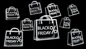 Black Friday sprzedaży ikon 3D cyfrowy rendering Royalty Ilustracja