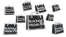 Black Friday sprzedaży ikon 3D cyfrowy rendering Zdjęcia Royalty Free