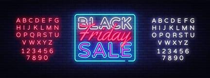 Black Friday sprzedaży neonowego znaka wektor Black Friday sprzedaży projekta szablonu neonowy znak, lekki sztandar, neonowy sign Royalty Ilustracja