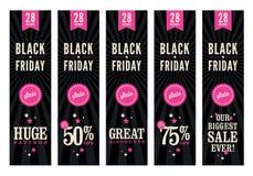 Black Friday sprzedaży sieci sztandary Zdjęcia Royalty Free