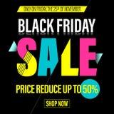 Black Friday sprzedaży sztandar, plakat, rabat karta Zdjęcia Royalty Free