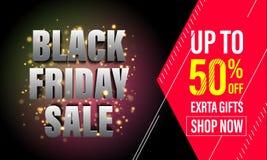 Black Friday sprzedaży sztandar, plakat, rabat karta Fotografia Royalty Free