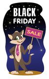 Black Friday sprzedaży sztandar z kotem i znakiem obrazy royalty free