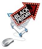 Black Friday sprzedaży zakupy tramwaju Online mysz Fotografia Royalty Free
