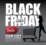 Black Friday Square Ribbon Tag Woman Cart Background Stock Photography