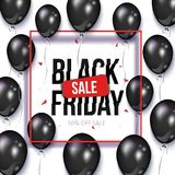 Black Friday sale banner, flyer with balloons vector illustration