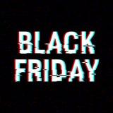 Black Friday-Störschubtext Effekt des Anaglyph 3D Technologischer Retro- Hintergrund auf weißem background Verkauf, E-Commerce Stockbild