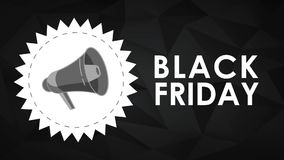 Black friday stamp with bullhorn HD animation. Black friday stamp with bullhorn over black background High definition colorful animation scenes stock footage