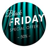Black Friday sticker or banner. Special offer. Fifty percent off. Realistic neon curtain background. Vector illustration. Black Friday sticker or banner Stock Photo